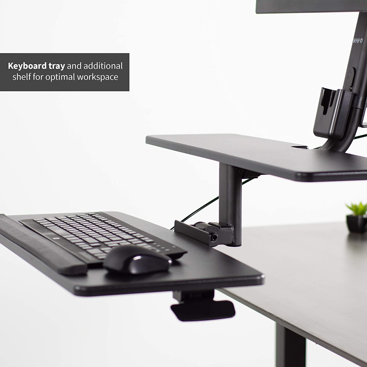 """Screens 17/"""" to 32/"""" VIVO Black Single Monitor Sit-Stand Height Adjustable Workstation Standing Desk Mount Riser with Keyboard Tray STAND-SIT1D"""