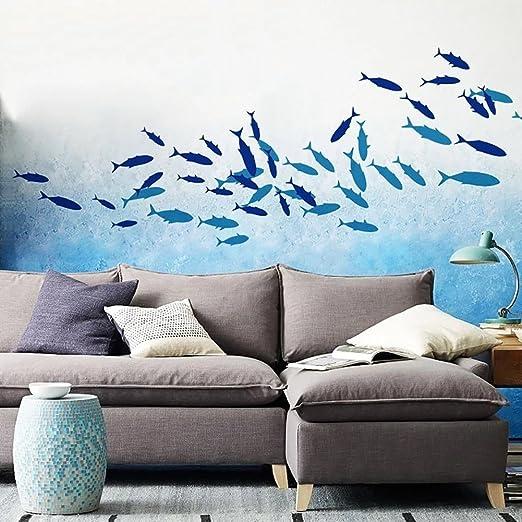 WandSticker4U/® dunkelblau I Wandsticker Badezimmer Meerestiere Fliesen Aufkleber Bad Deko Fisch See I Kinderzimmer Unterwasserwelt Meer Sticker Kinder Wandtattoo FISCHE I Farbe