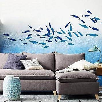 Dunkelblau Waterproof Wall Tile Decal Stickers Bathroom Nursery Decal Sticker Decoration C: Fische Wall STICKER4U Wall Sticker Underwater World Colorful Sea Fish Aquarium Underwater Ocean