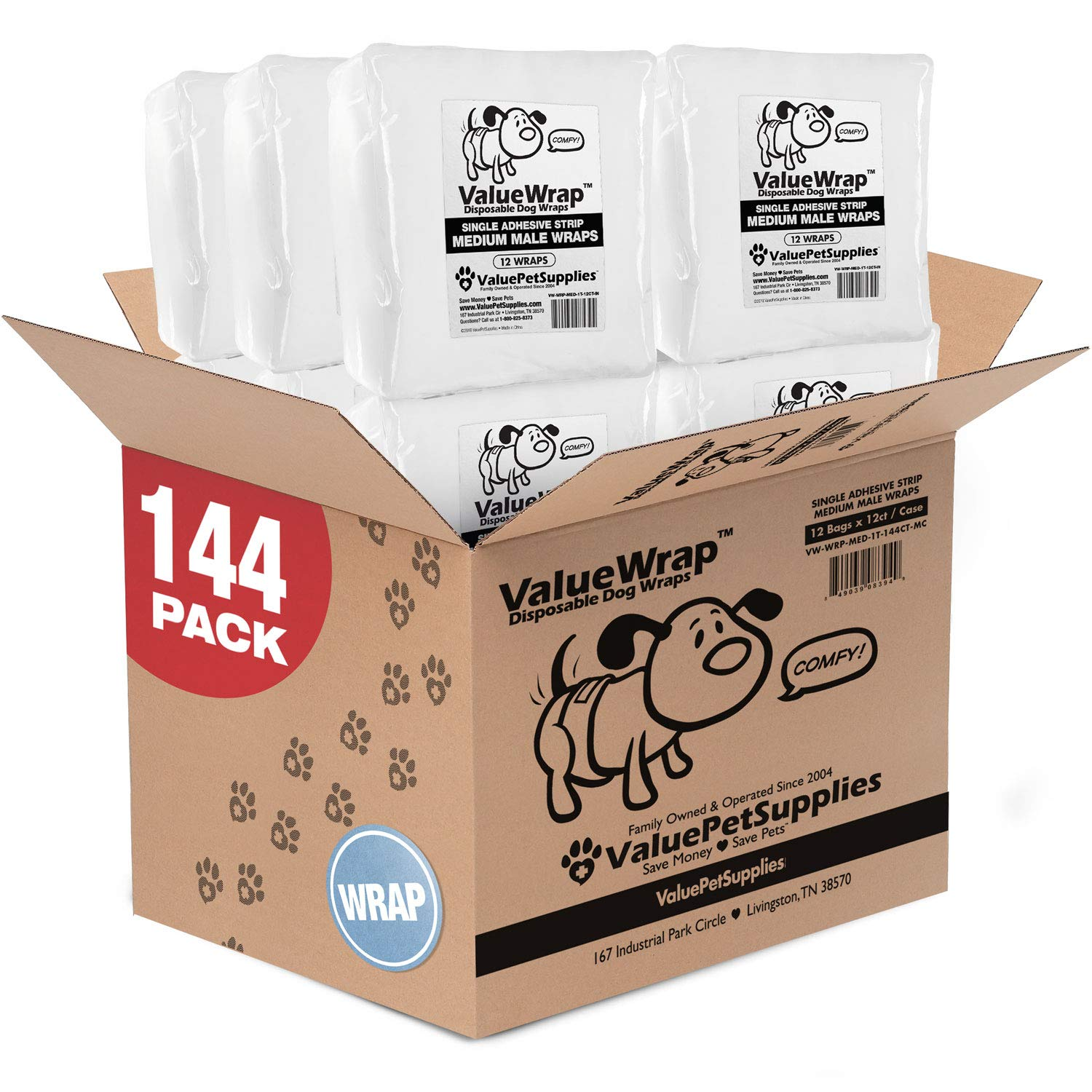 ValueWrap Disposable Male Dog Diapers, 1-Tab Medium, 144 Count - Absorbent Male Wraps for Incontinence, Excitable Urination & Travel | Fur-Friendly Fastener | Leak Protection | Wetness Indicator by ValueWrap