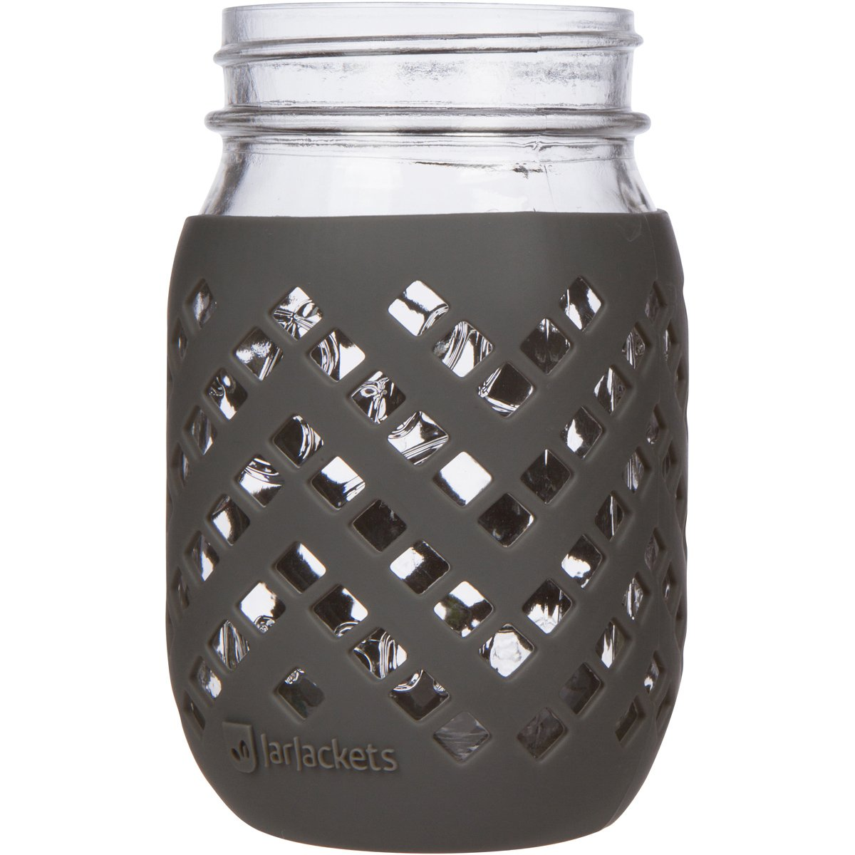 JarJackets Silicone Mason Jar Sleeve - Fits 16oz (1 Pint) Regular-Mouth Jars | Package of 1 (Midnight)