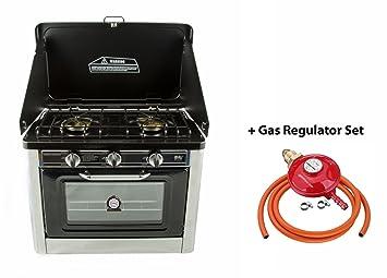 NJCO-01 - Estufa de Gas Portátil de Camping y Horno, Acero Inoxidable,