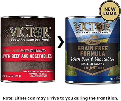 Victor Grain Free Cuts In Gravy With Beef And Vegetables Dog Food – Canned, 12 13.2 Oz. Cans