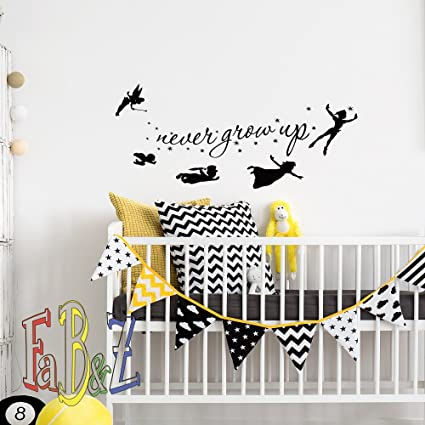 Peter Pan Wall Decal Children Flying Silhouette Never Grow Up Quote