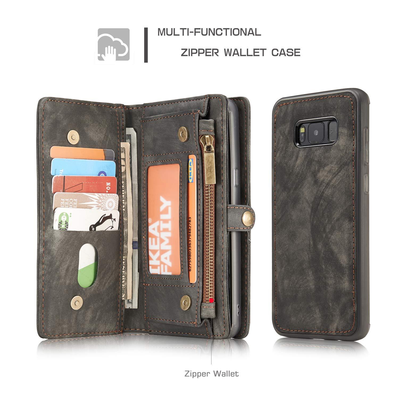 Funci/ón de Soporte Billetera de Galaxy S8 Plus KelaSip Funda de Cuero para Galaxy S8 Plus Ranuras para Tarjetas Magn/ética Cerrada Carcasa Case para Galaxy S8 Plus, Gris