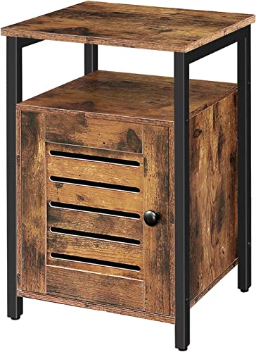 HOOBRO Nightstand, Shutter End Table with Open Shelves and Inner Storage, Square Side Table, Wood Accent Industrial Sofa Storage Cabinet in Bedroom, Living Room Rustic Brown BF85BZ01