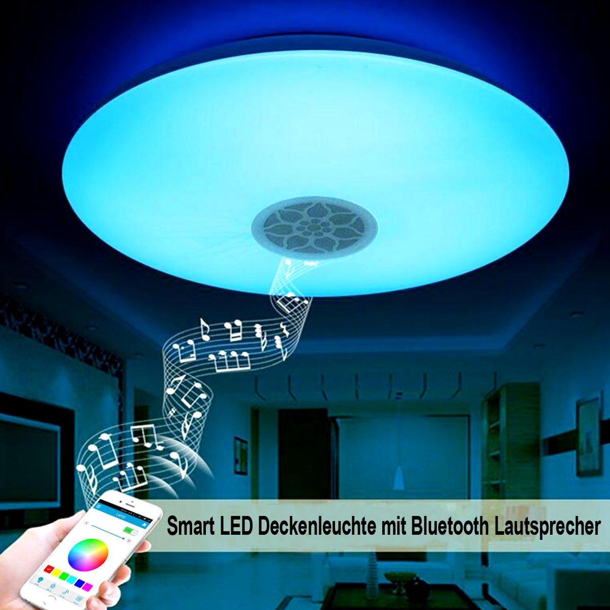 Lámpara LED de techo, de Autai, con altavoz y bluetooth para sincronización de música, con soporte regulable, para salón, dormitorio, comedor: Amazon.es: ...