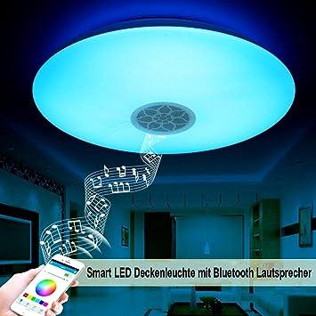 Lámpara LED de techo, de Autai, con altavoz y bluetooth para sincronización de música, con soporte regulable, para salón, dormitorio, comedor