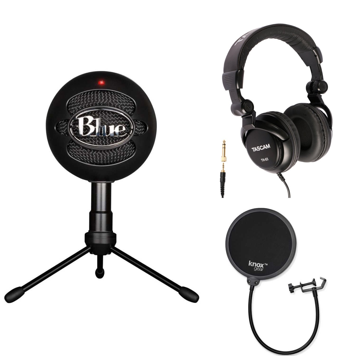 Blue Microphones Snowball iCE Condenser Microphone (Black) with Studio Headphones and Knox Pop Filter by Blue Microphones