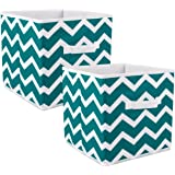 "DII Fabric Storage Bins for Nursery, Offices, & Home Organization, Containers Are Made To Fit Standard Cube Organizers (11x11x11"") Chevron Teal - Set of 2"