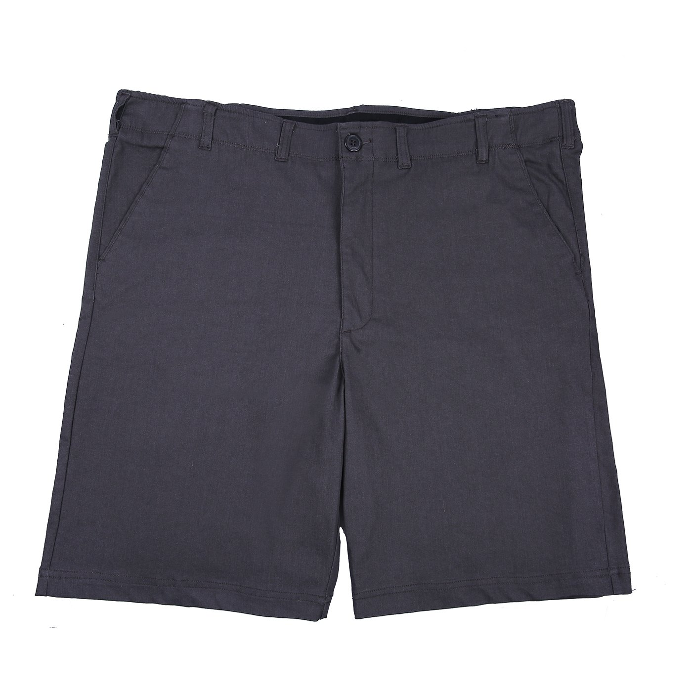 HDE Mens Big and Tall Shorts Comfort Waist Classic Fit Twill Cotton Blend Chino (Charcoal, 44)