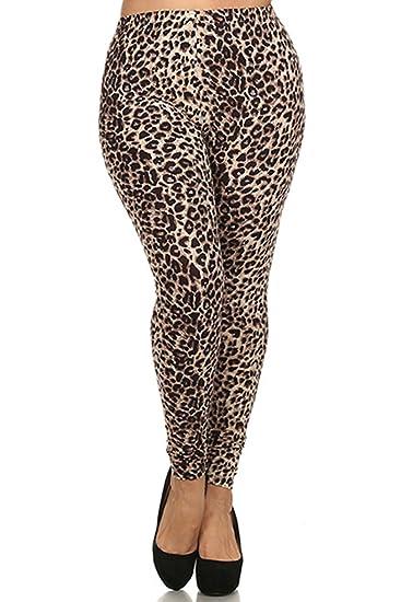 f585878755559 ALWAYS Women's Junior Plus Size Stretch Brown Leopard Print Leggings ...