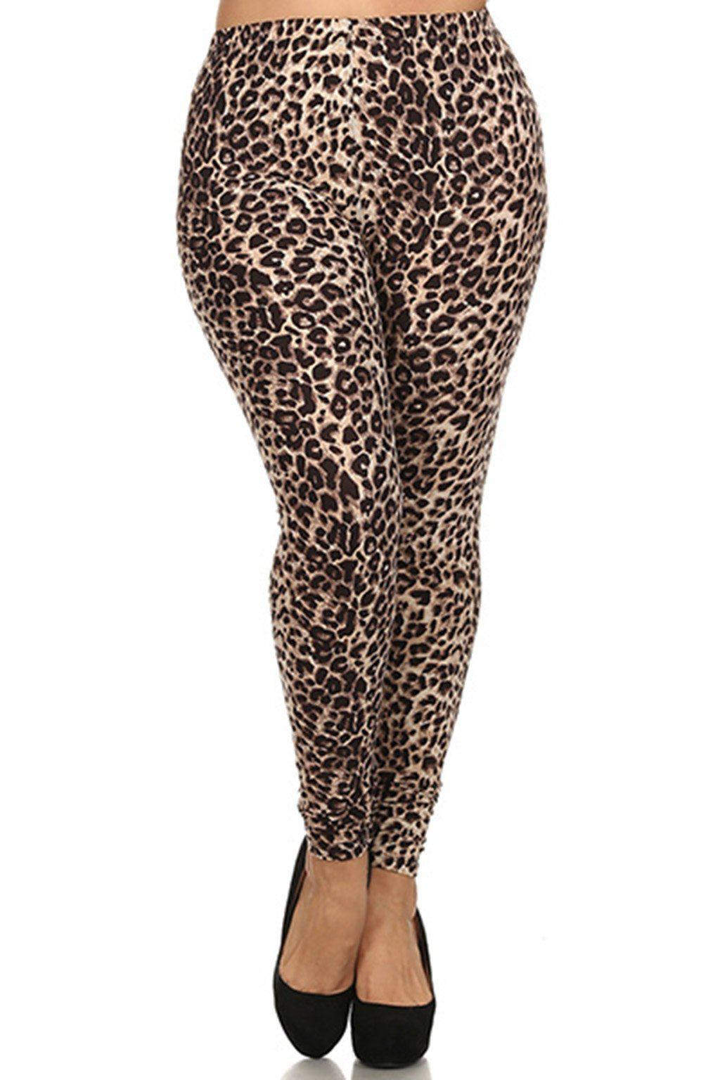 ALWAYS Women's Junior Plus Size Stretch Brown Leopard Print Leggings