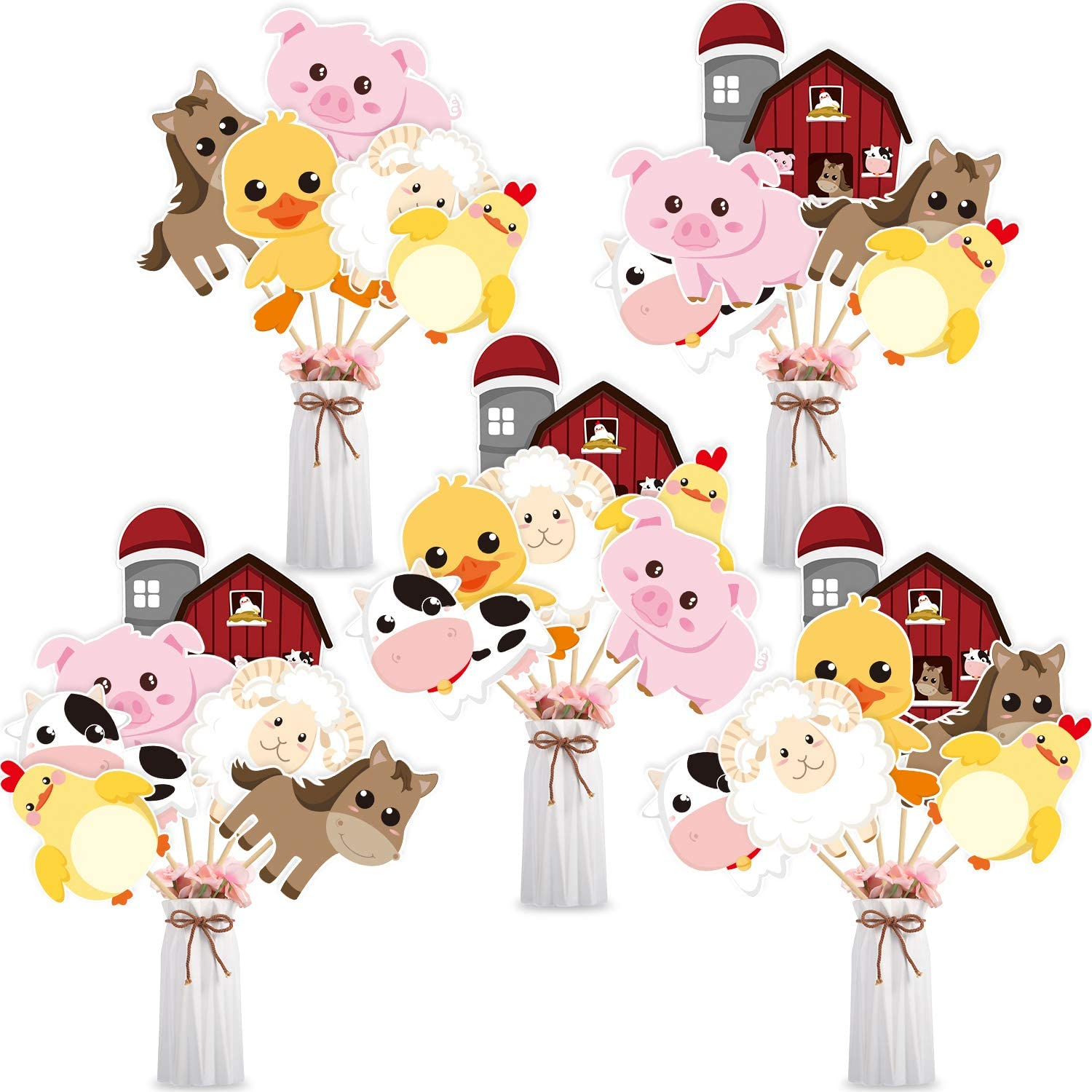 Blulu 28 Pieces Farm Animal Centerpiece Cards and Sticks for Farm Theme Party, Table Toppers Farm Animal Birthday Party Decoration Baby Shower Birthday Party Supplies(Farm Animal)