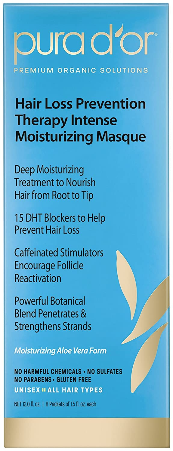 PURA D'OR Hair Thinning Therapy Masque Intense Moisturizing Conditioner Hair Mask Treatment, Made with Organic Argan Oil & Biotin, Organic Argan Oil & Biotin, 12 Fluid Ounce