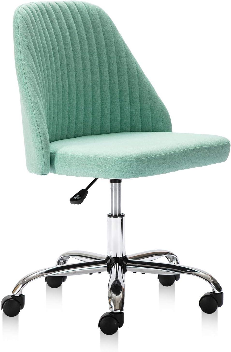 Home Office Chair, Modern Twill Fabric Chair Adjustable Desk Chair Mid-Back Task Chair Ergonomic Executive Chair-Green