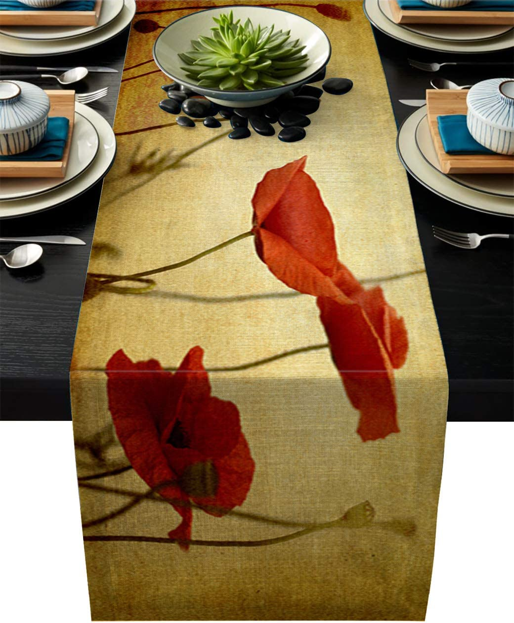 IDOWMAT Linen Burlap Table Runner Dresser Scarves 13 x 90 Inch, Vintage Red Poppy Flower Kitchen Table Runners for Farmhouse Dinner, Holiday Parties, Wedding, Events, Decor