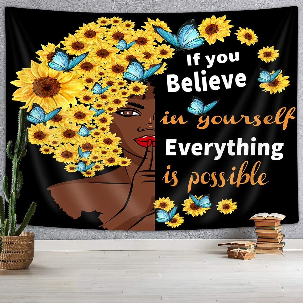 Black Girl Tapestry, Funny African Women Hair Decor with Sunflowers Butterflies and Inspirational Quotes Wall Tapestry, Tapestry Wall Hanging for Bedroom Living Room Dorm TV Background, 80X60IN