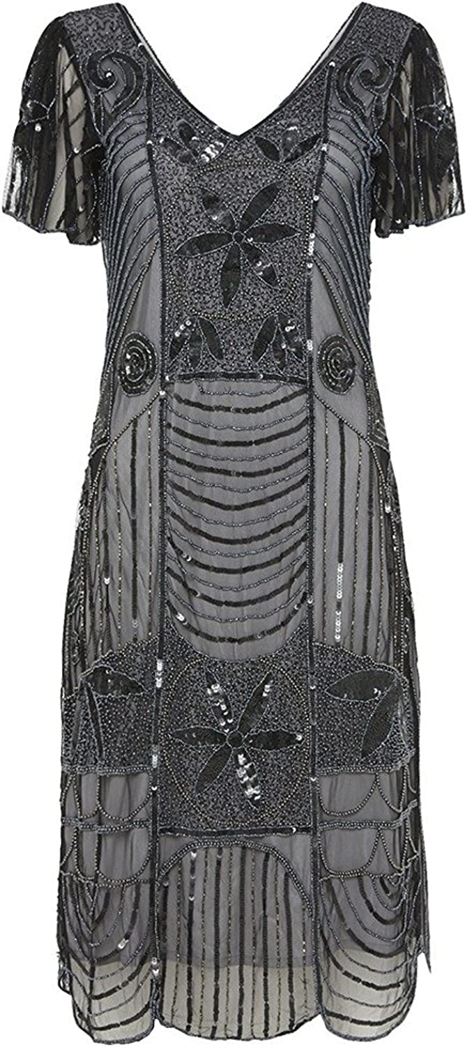 1920s Dresses UK | Flapper, Gatsby, Downton Abbey Dress gatsbylady london Daisy Vintage Inspired Flapper Dress in Black Silver £85.00 AT vintagedancer.com