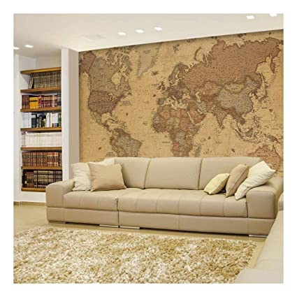 wall26 antique monochrome vintage political world map wallpaper wall mural removable sticker