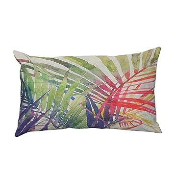 Fossrn Fundas de Cojines Almohada Tropical Hojas Funda de Cojines para Sofa Jardin Cama Decorativo - 30x50 cm (C)