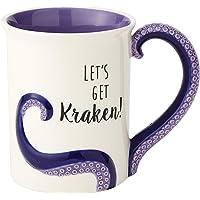 """Enesco 6000550 Our Name is Mud """"Kraken"""" Stoneware Sculpted Coffee Mug, 16 oz, Purple"""