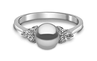 Kimura Cultured Grey Freshwater Pearl Ring, 9 ct