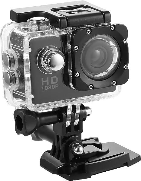 Cámara Deportiva HD 1080P Impermeable Sumergible hasta 30m Pantalla LCD de 2 Pulgadas Gran Angular Lente de 140 Grados con Accesorios Múltiples (Negro, EU): Amazon.es: Electrónica