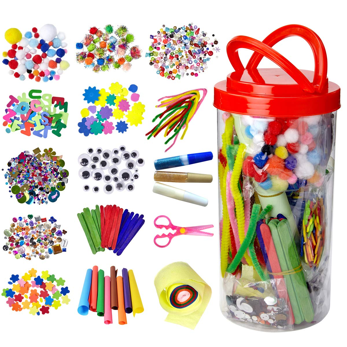Dragon Too Mega Kids Art Supplies Jar – Over 1,000 Pieces of Colorful and Creative Arts and Crafts Materials - Glue, Safety Scissors, Pompoms, Popsicle Sticks, Pipe Cleaners and Loads More
