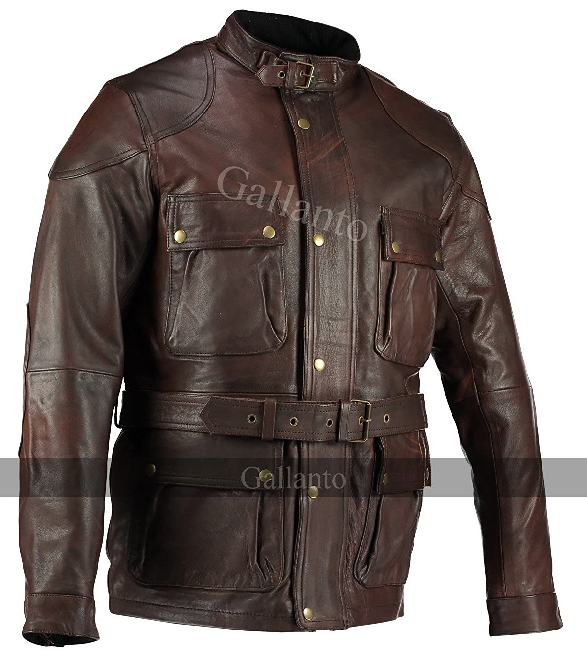 Gallanto Olive Green Benjamin Button Biker Mens Leather Jacket Motorcycle Armoured Vintage