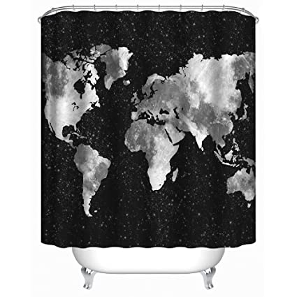 Amazon seavish bathroom shower curtain black and grey world seavish bathroom shower curtain black and grey world map fabric waterproof mildew resistant bath curtain gumiabroncs Gallery