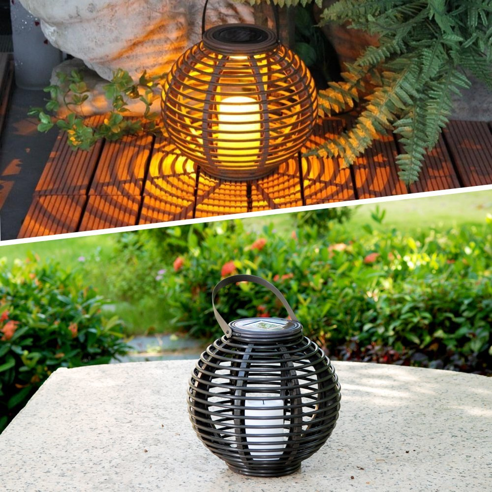 Outdoor Decorative Solar Powered Candle Lantern with Flickering ...