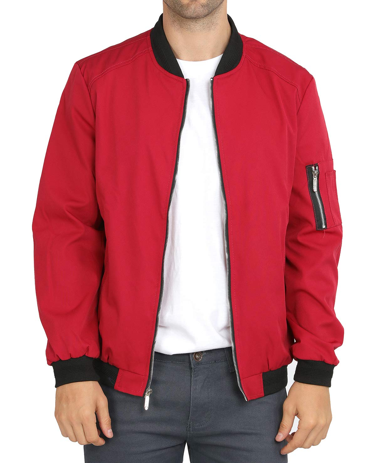 WULFUL Mens Casual Lightweight Jacket Softshell Flight Bomber Jacket Varsity Coat Wine Red Size Medium by WULFUL