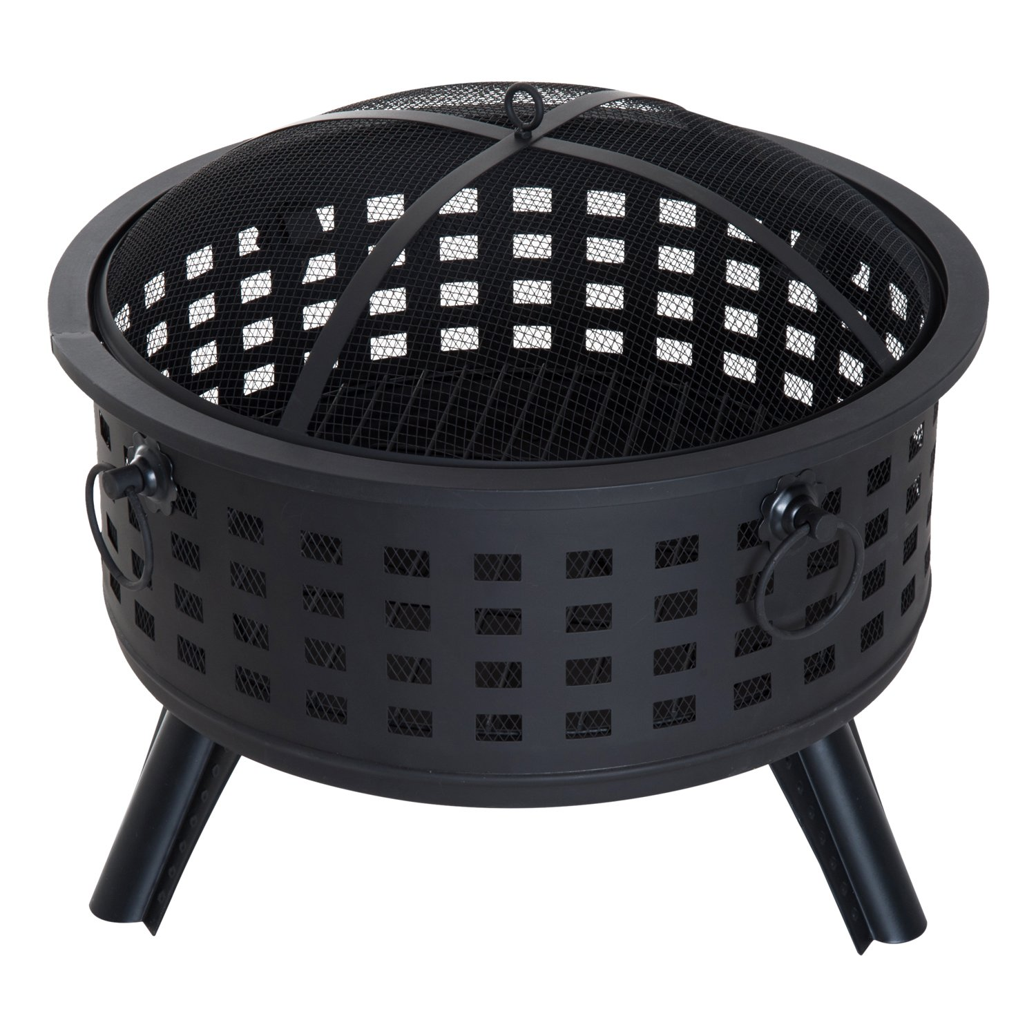 Outsunny 26'' Round Steel Patio Backyard Wood Burning Fire Pit% With Lattice Design and Accessories