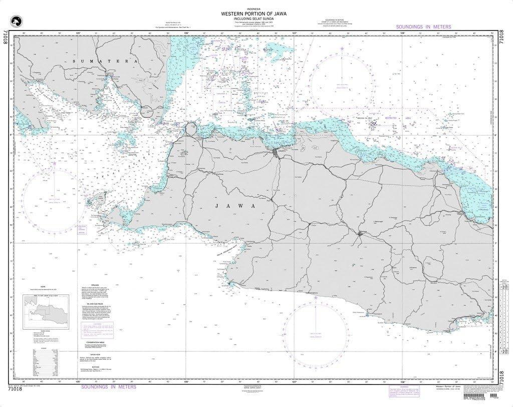 Western Portion of Jawa including Selat Sunda NGA Chart 71018