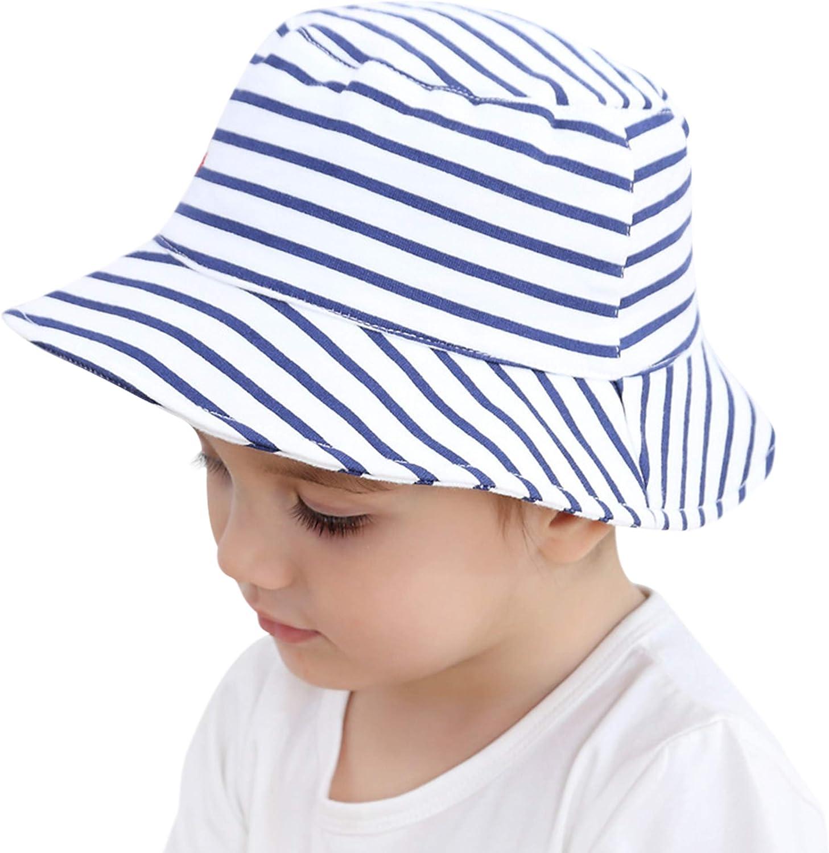Cappello da Sole per Bambini Stile Navy Strisce Cappello Pescatore in Cotone Super Morbido Pelle-Amichevole Estate Primavera Autunno Bimbo e Bimba Cappello Bianco 0-4 Anni