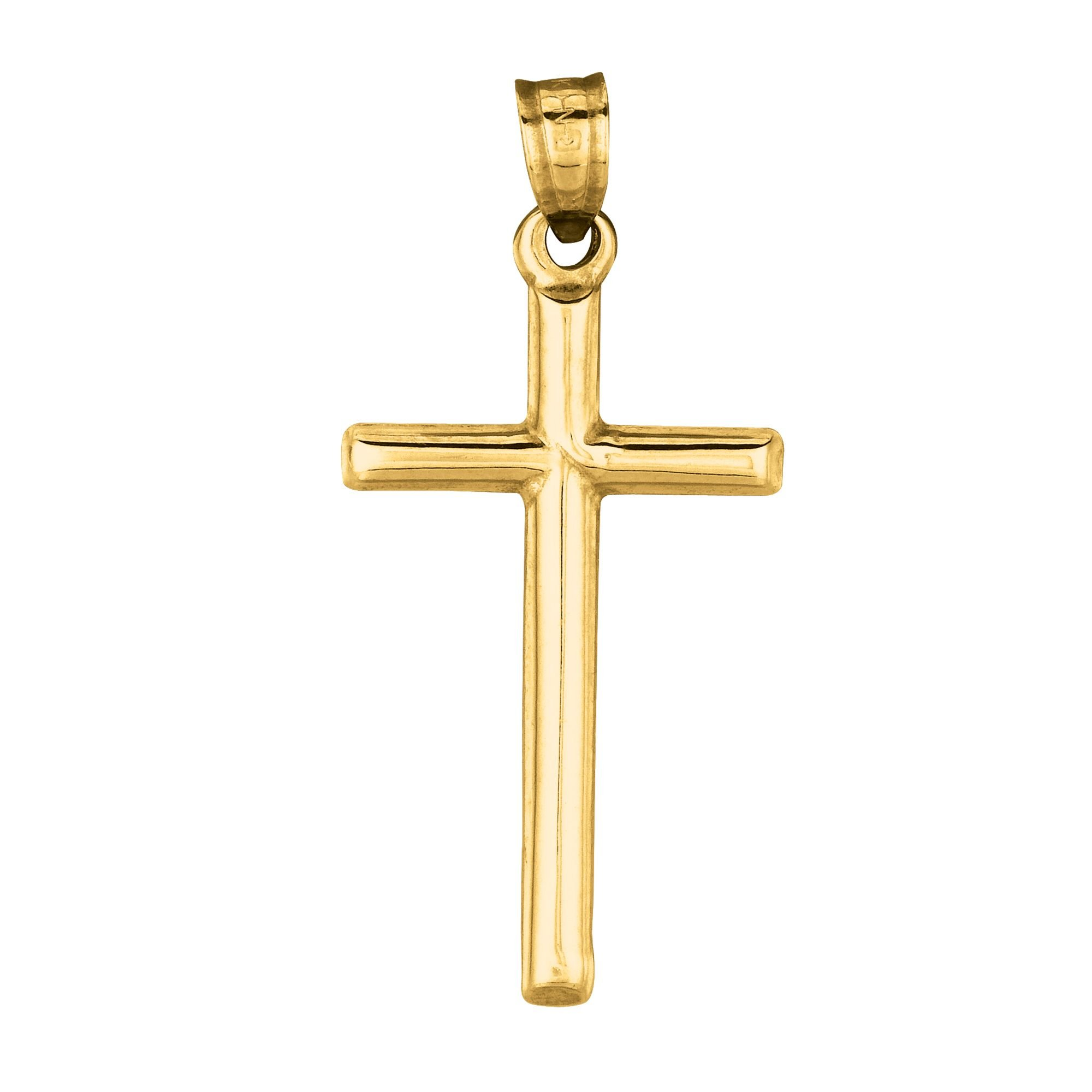 14k Yellow Gold Cross Crucifix Pendant Classic Charm Plain 1.25 inch