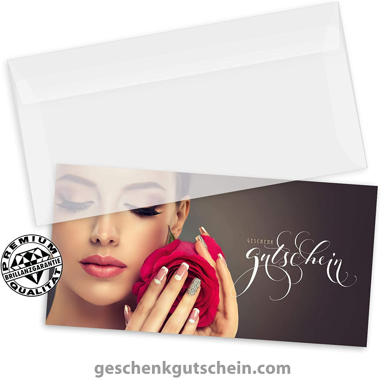 KS9281 10 Kuverts 10 Geschenkgutscheine DIN-lang Gutscheine f/ür Kosmetik Nagelstudio Nageldesign Kosmetikinstitut 10 Schleifen
