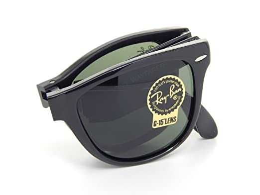 7a3b135af2 Image Unavailable. Image not available for. Color  Ray Ban Folding Wayfarer  RB4105 601 Black Crystal Green 54mm Sunglasses