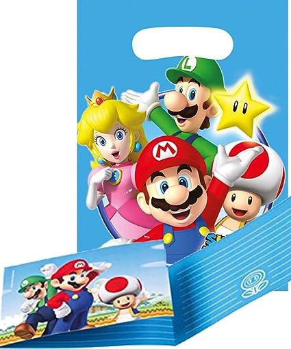 Mario Party Pack Super Mario Bros. – 8 unidades Tarjetas de invitación & 8 unidades bolsas de fiesta: Amazon.es: Oficina y papelería