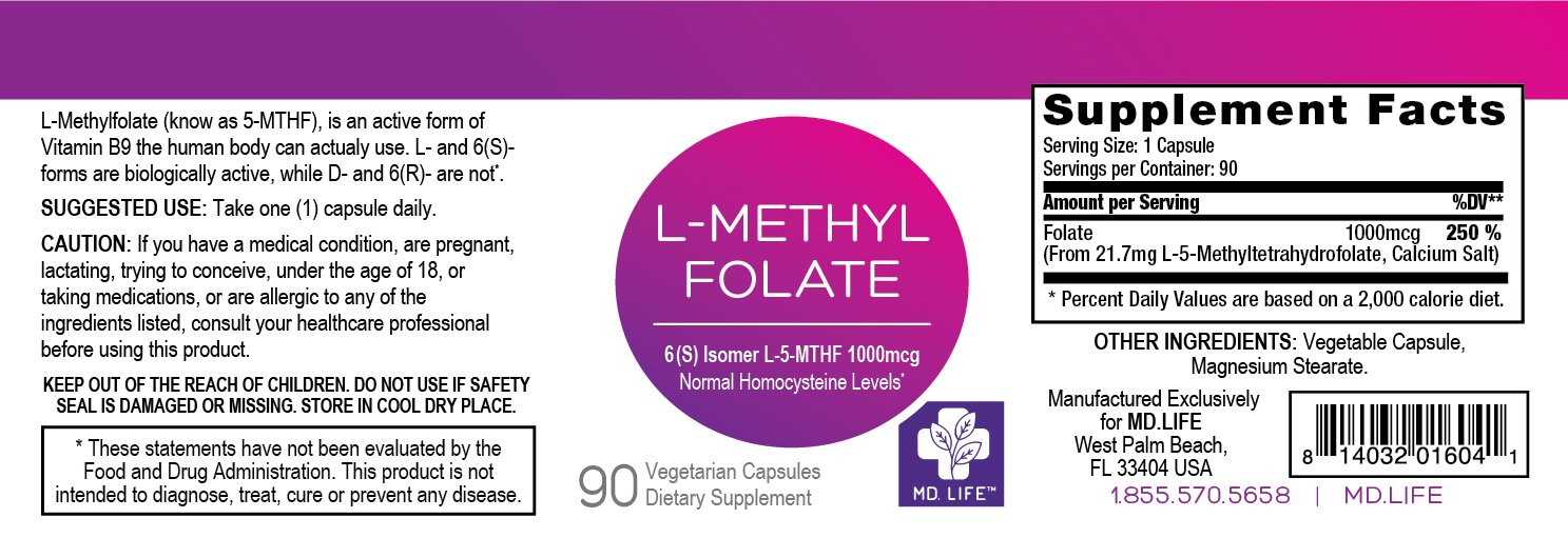MD.LIFE L-Methylfolate 1 mg. 90 - Capsules- 5-MTHF Folate Supplement by MD.LIFE (Image #5)
