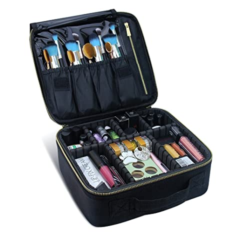 Travelmall Cosmético Organizador-Profesional Maquillaje Case-Travel Maquillaje Herramientas Contenedor (Golden-(25x23x9) cm)