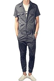 fa57c481e5c YOUMU Men Long Sleeve Zip up Romper Jumpsuit Playsuit Streetwear ...