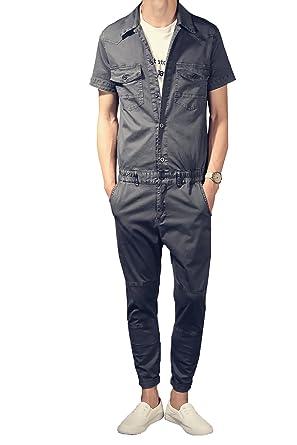 5fb5354c9fac YOUMU Men Short Sleeve Retro Slim Romper Jumpsuit Playsuit Overalls Grey