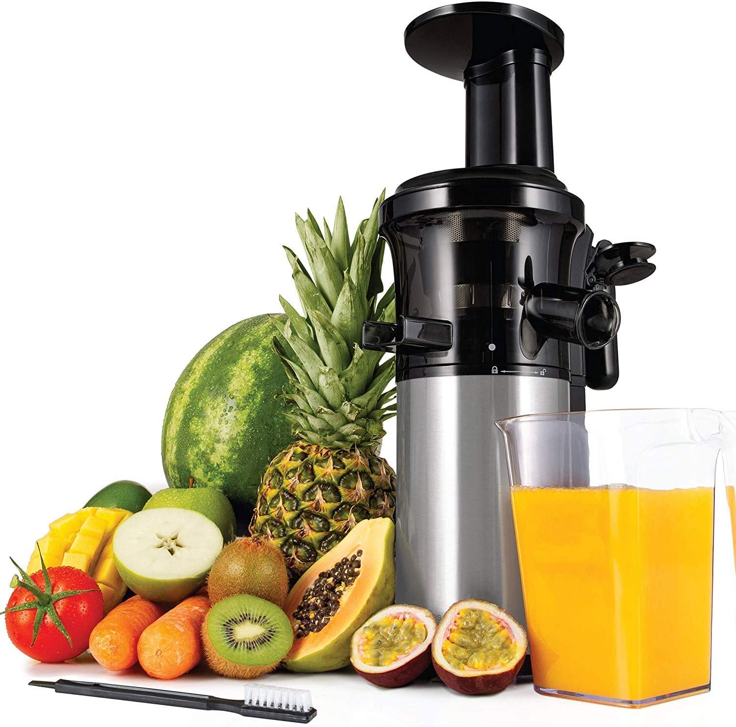 Andrew James Masticating Slow Juicer Machine | Juices Various Fruit & Veg | Oranges Apples Carrots | Makes Nutritious Fresh Juice with Minimum Waste |