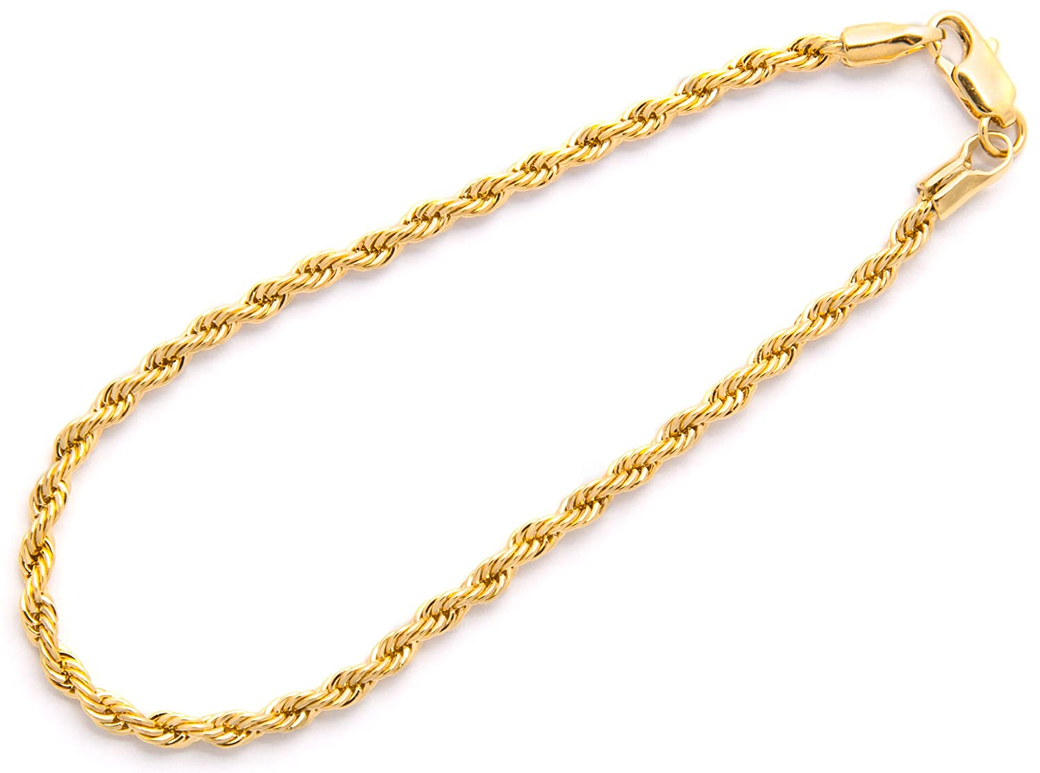 Lifetime Jewelry 3mm Rope Chain Gold Bracelet for Men and Women - Up to 20X More 24k Plating Than Other Plated Bracelets - Beautiful Piece of Gold Jewelry for Women and Men 7 8 and 9 inches Diamond Cut 24K Gold with Inlaid Bronze Premium Fashion Jewelry Re
