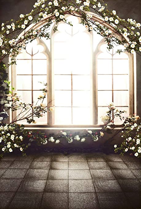 Amazon.com : Kate 5x7FT French Window Indoor Flowers Background ...