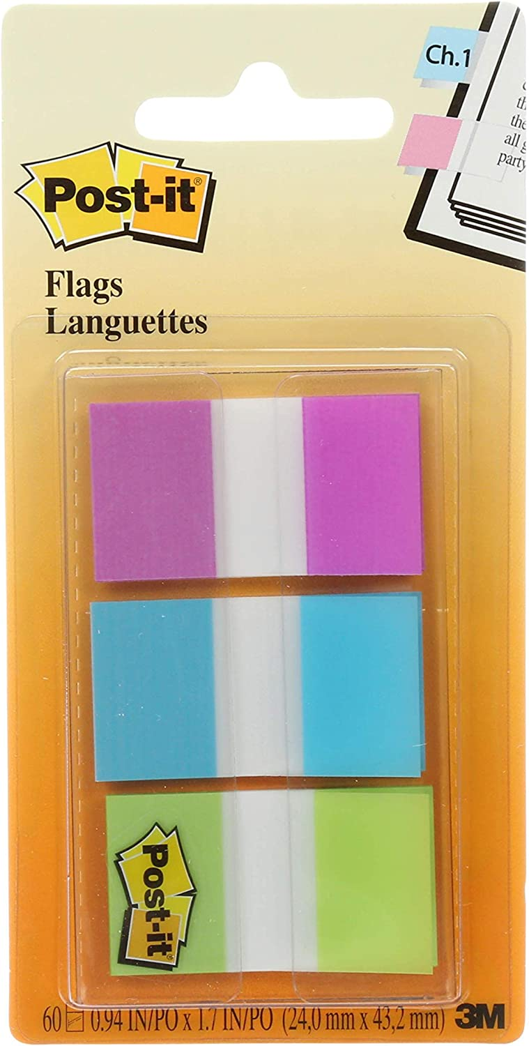 Repositionable Post-it Flags 60//On-The-Go Dispenser 1 Dispenser//Pack, Wide Green Writable Durable 680-PBG Removes Cleanly.94 in Blue Sticks Securely Purple