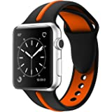 Apple Watch Band, Solomo [Sport Series] Fashion iWatch Strap Soft Durable Silicone Replacement Stripe Color Splicing Style with Women/Men Wristband for Apple Watch Nike+,Series 3/2/1 (42MM Orange)