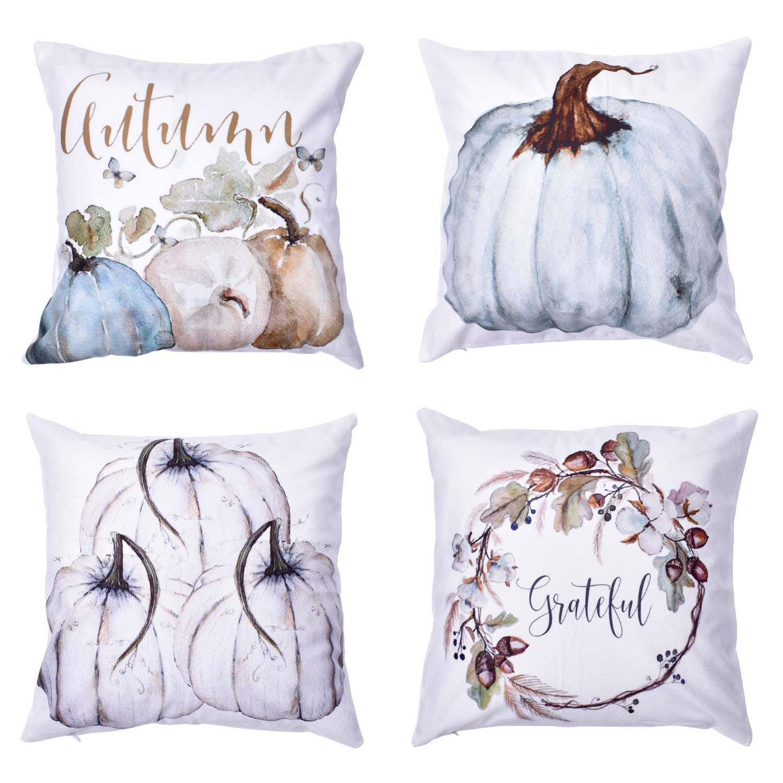 "Blovec Pumpkin Throw Pillow Covers Thanksgiving Halloween Decorative Autumn Pillow Cases Set of 4 Cotton Blend Cushion Covers 18""x18"""